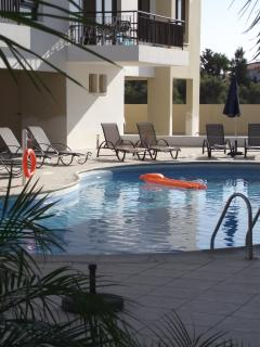 Large pool and terrace enjoys country views.