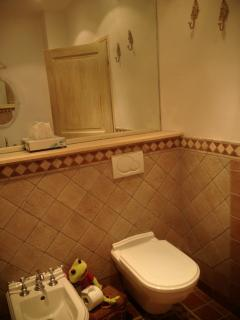 Master bath with bidet and large mirror