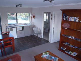 The lounge and kitchen area