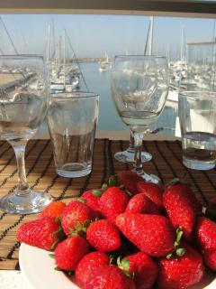 A view from the terrace with strawberries