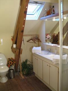 Les toilettes se situent dans la salle de bain.