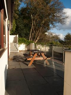 Secluded downstairs sun terrace