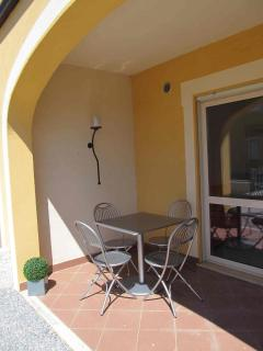 Private patio and terrace area of apartment 123G