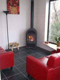 The log burner stove makes it toasty warm in the cool weather.