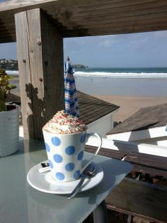 Hot chocolate at Tolcarne Beach, Newquay