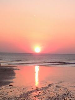Sunset from the beach bar at Watergate Bay
