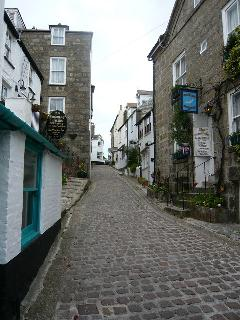 The quaint cobbled streets of St Ives.