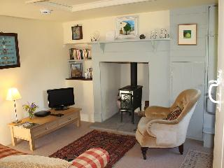 The sitting room with its Jotul wood-burning stove