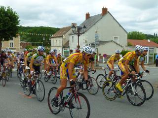Bike race through village