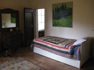 View of bedroom single bed.