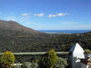 Vue de la terrasse sur Estepona, le montagne, la vallée et la mer
