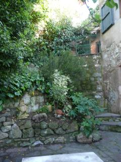 The small patio garden with stairs leading up to the vine covered terrace, a further dining area.