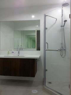 Bright, spacious brand new bathroom, large counter space & mirrors- 1st floor.
