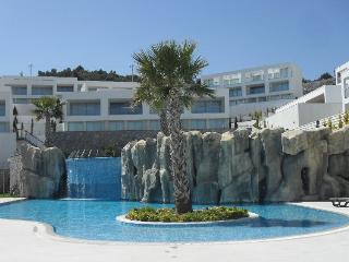 The beautiful crystal blue waters of the main pool area