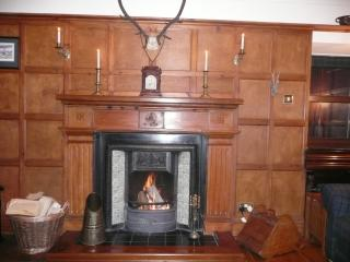 Log fire in the cosy sitting room