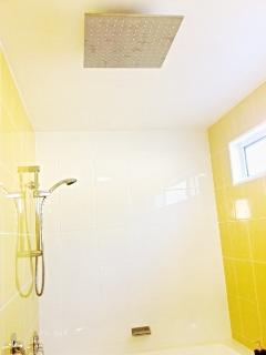 Bathroom with rain shower + standard shower