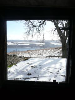 View out of the steading door in winter