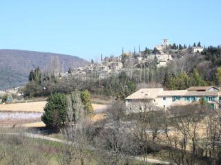 Les vergers de la Bouligaire avec en fond le village perché de Mirmande