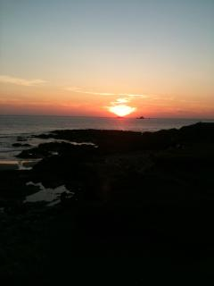 Sunset over Treyarnon Bay