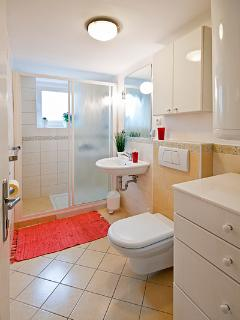 Bathroom with shower, soap and toallet paper provided.