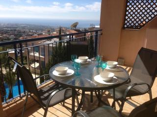 Breakfast on the large sunny veranda with 180 degree view to the Mediterranean.