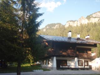 A complete view of the chalet surrounded by the mountains