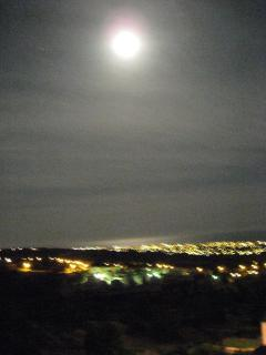 A full moon over the Paphos coastline, taken from the veranda.