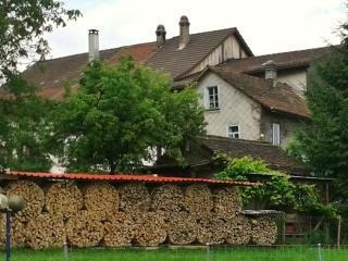 Old house behind the wood wall, Zurich