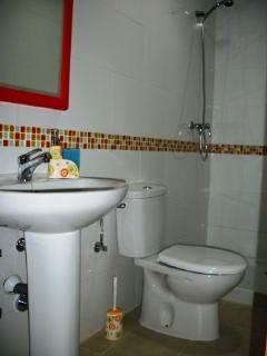 amplio baño mas plato ducha acompañado de un mampara