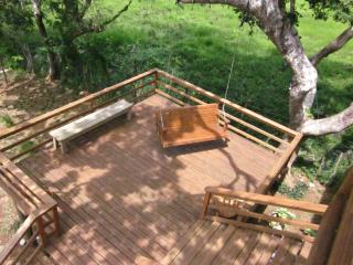 Outdoor deck with swing