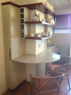 Kitchenette with fridge, microwave,toaster, kettle, cutlery ect