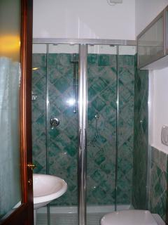 ...with spacious shower