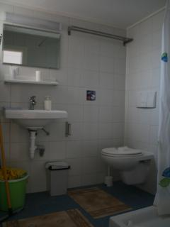 Bathroom with shower, sink and toilet. Window and hot water.