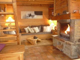 Chalet  indépendant avec cheminée, vue Mont-Blanc, Sallanches