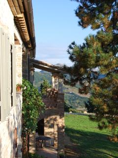 View from balcony of master bedroom towards outside stair, Monte Acuto beyond. Morning coffee?