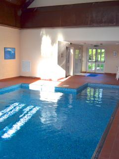 All year round heated indoor pool with gym above