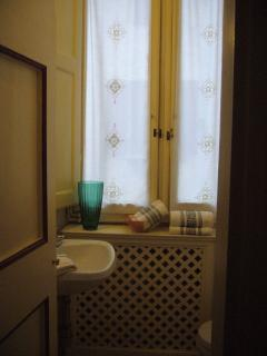 The window in the bathroom