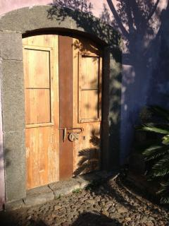 the door of the old wood stove where you can cook!