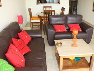 Spacious lounging area. Comfy leather sofas. Lean back and relax!