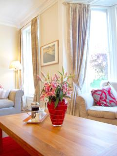 Lounge twin aspect windows with views down Bagdale into the town