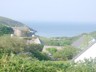 the view from the garden - beach and castle -check the surf