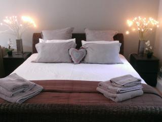 The Windsor garden studio bedroom area, with super king size bed.