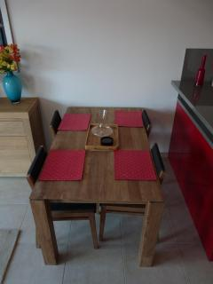 The lovely wooden dining table