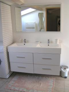 Shower room double washbasins