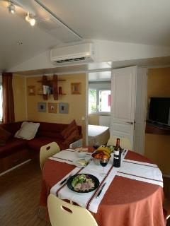One of the best mobile homes on this campsite. TV included with numerous channels.