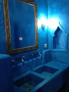 blue ensuite bathroom
