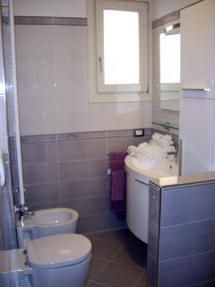 Bathroom with shower and washing machine