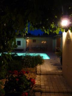 The pool/terrace by night