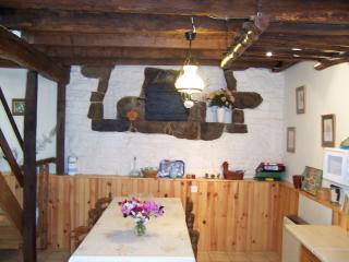Dining area with old bake oven behind