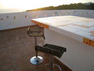 Enjoy panoramic views of the village, pine forest and sea from our large private rooftop terrace.